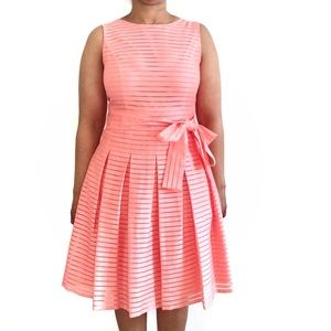 Tommy Hilfiger Coral Pleated Cocktail Dress Sz 10